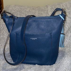 Coach Legacy Pebbled Leather Duffle Bag Blue